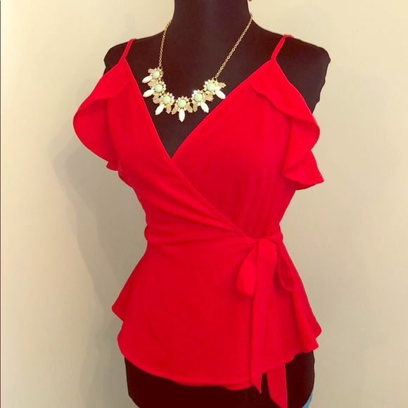 Monteau Tops - Red wrap top New medium